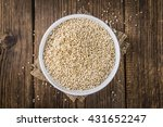 Stock photo pile of puffed quinoa as detailed close up shot selective focus 431652247
