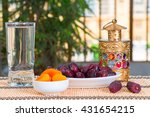 table with fruits   dates and... | Shutterstock . vector #431654215