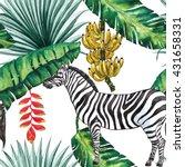 tropical jungle with zebra ... | Shutterstock . vector #431658331