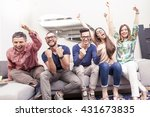 group of friends watching a... | Shutterstock . vector #431673835