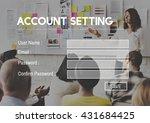 account setting register sign... | Shutterstock . vector #431684425