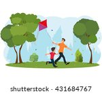 dad and son child flying a kite.... | Shutterstock .eps vector #431684767