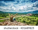 pyramids of the sun and the...   Shutterstock . vector #431689825