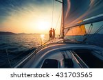 couple on the sailing boat at... | Shutterstock . vector #431703565