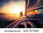 couple on the sailing boat at... | Shutterstock . vector #431707309