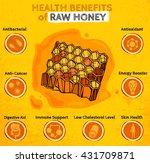health benefits of honey....   Shutterstock .eps vector #431709871