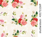 seamless floral pattern three... | Shutterstock .eps vector #431711269