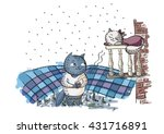 romantic couple. cat wakes up... | Shutterstock .eps vector #431716891