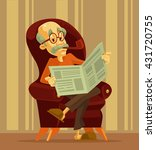 old man reading newspaper.... | Shutterstock .eps vector #431720755