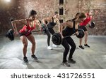 gym group with weight lifting... | Shutterstock . vector #431726551