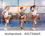 three athletic girls doing... | Shutterstock . vector #431726665