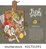 fresh seafood on wood | Shutterstock .eps vector #431731591