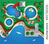 plan water park on the beach.... | Shutterstock .eps vector #431732131