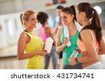 smiling girls in group... | Shutterstock . vector #431734741