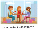 women in cafe vector... | Shutterstock .eps vector #431748895