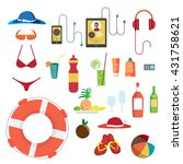 set of summer beach objects.... | Shutterstock .eps vector #431758621