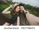 young couple of backpackers... | Shutterstock . vector #431758651