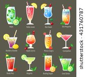 set of alcohol cocktails and... | Shutterstock .eps vector #431760787