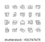 Simple Set of Credit Card Related Vector Line Icons.  Contains such Icons as Chip, Register, Safe Payment, Cash, Sync and more.  Editable Stroke. 48x48 Pixel Perfect.  | Shutterstock vector #431767675