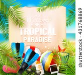 welcome to tropical paradise.... | Shutterstock .eps vector #431768869