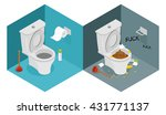clean and dirty toilet... | Shutterstock .eps vector #431771137