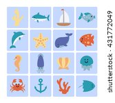 set of sea icons. image of cute ... | Shutterstock .eps vector #431772049