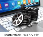 laptop  film and clapper board  ... | Shutterstock . vector #431777449