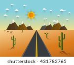 picture of desert road  cacti ... | Shutterstock .eps vector #431782765
