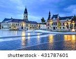 Small photo of Union square (Piata Unirii) seen at the blue hour in Oradea, Romania