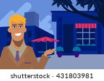 man talking about a restaurant  ... | Shutterstock .eps vector #431803981