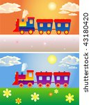 two toy trains winter and summer | Shutterstock .eps vector #43180420