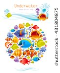 sea fishes colorful poster | Shutterstock .eps vector #431804875