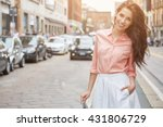 close up fashion woman portrait ... | Shutterstock . vector #431806729
