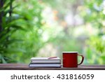 red mug and notebooks with... | Shutterstock . vector #431816059