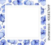 blue watercolor hydrangea... | Shutterstock . vector #431817649