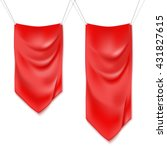 realistic red textile banners... | Shutterstock .eps vector #431827615