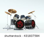 drum set with anarchy sign. 3d...   Shutterstock . vector #431837584