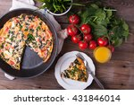 pan of frittata with spinach ... | Shutterstock . vector #431846014