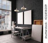 desk in hipster style loft.... | Shutterstock . vector #431858209