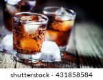 rum and cola and ice  dark wood ... | Shutterstock . vector #431858584