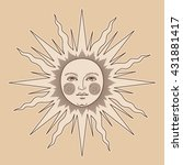 the sun with the face  vintage  ... | Shutterstock .eps vector #431881417