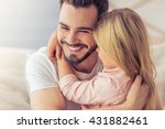 portrait of handsome father and ... | Shutterstock . vector #431882461
