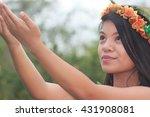 hawaiian hula girl | Shutterstock . vector #431908081