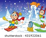the illustration shows children ... | Shutterstock . vector #431922061