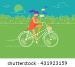 young woman rides white... | Shutterstock . vector #431923159