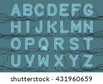 neon light bulbs custom font... | Shutterstock .eps vector #431960659