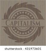 capitalism wooden emblem.... | Shutterstock .eps vector #431973601