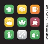tea flat design icons set....