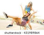 girlfriends laughing.... | Shutterstock . vector #431989864