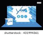 exhibition stand black blue... | Shutterstock .eps vector #431994361